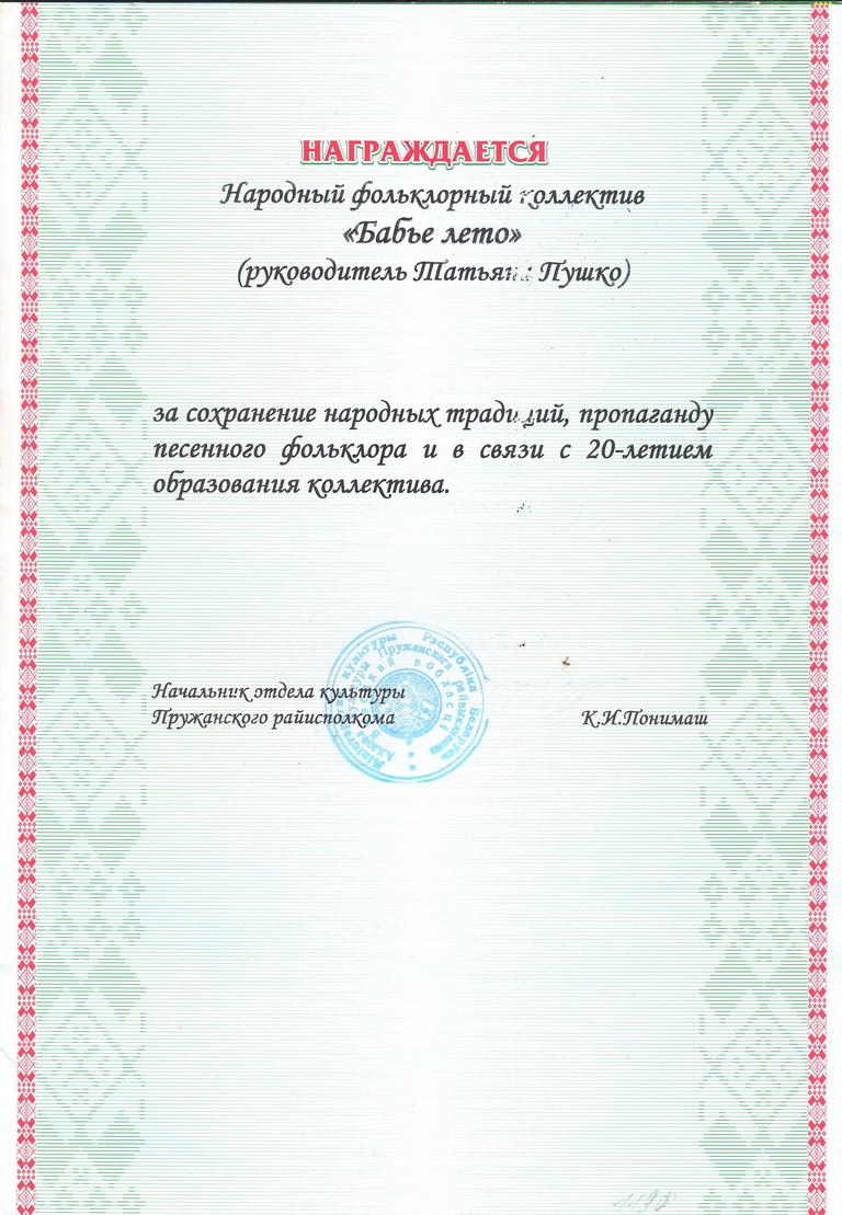 20 гадоў калектыву 2009 г.